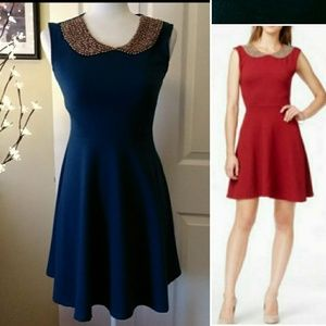 MAISON JULES fit flare beaded collar dress. XS